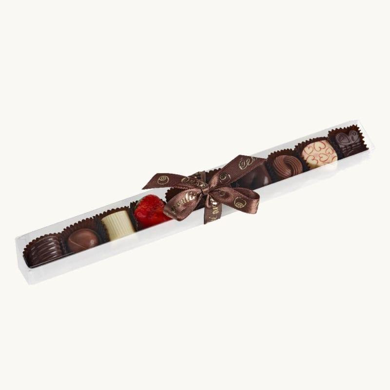 Balení 10 ks čokoládových pralinek v tubě