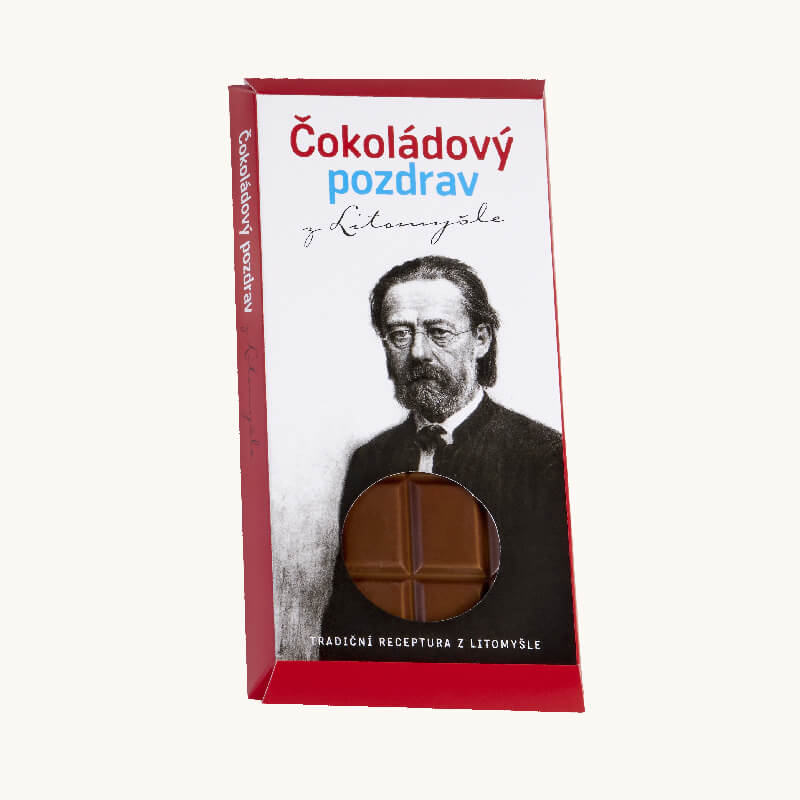 Čokoláda balená v papírovém obalu s portrétem Bedřicha Smetany