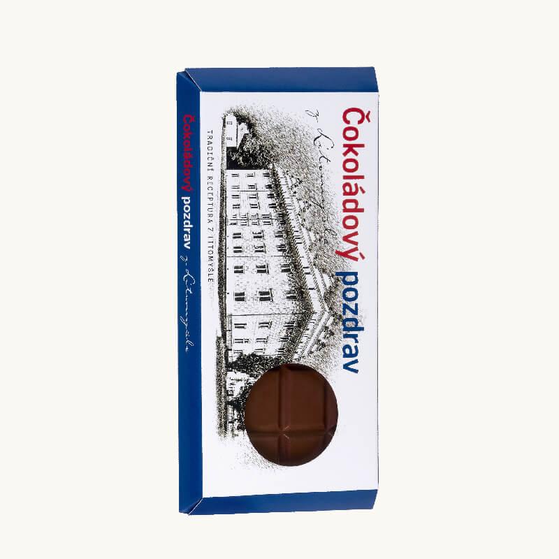 Čokoláda balená v papírovém obalu s motivy zámku Litomyšl